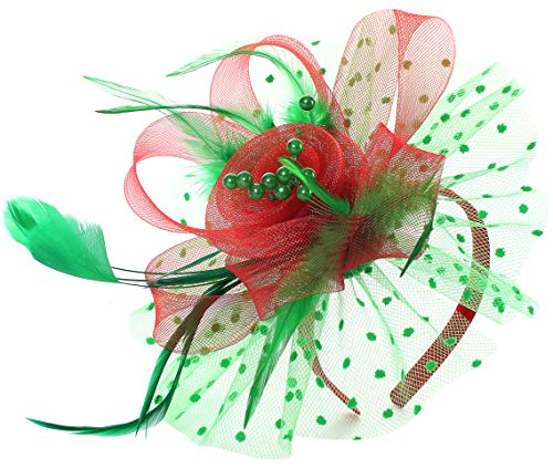 Fascinators for Women Tea Party Hats Kentucky Derby Wedding Feather Cocktail Headwear (Red & Green)