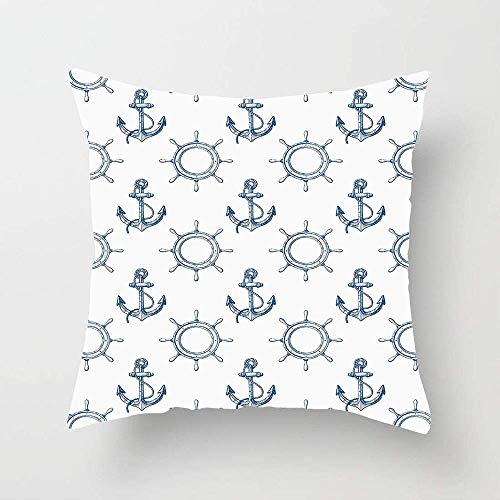 N\A Patrón de Anclas y Volantes patrón de Piratas y Marineros impresión de temática Marina Funda de cojín de Funda de Almohada Cuadrada para sofá Dormitorio Coche