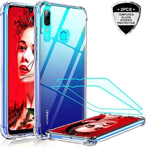 LeYi für Huawei P Smart 2019 Hülle Honor 10 Lite Handyhülle mit Panzerglas Schutzfolie(2 Stück), Neu Cover PC Air Cushion Schutzhülle Handy Hüllen für P Smart 2019 Case Crystal Clear