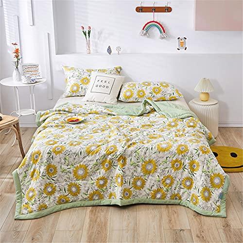 Oduo Tagesdecke Steppdecke Bettüberwurf Bettdecke Stepp Decke Sofaüberwurf Doppelbett Unterfüttert und Gesteppt Waschbare Klimaanlage Wohndecke Reisedecke (180 * 220cm,Sonnenblume)