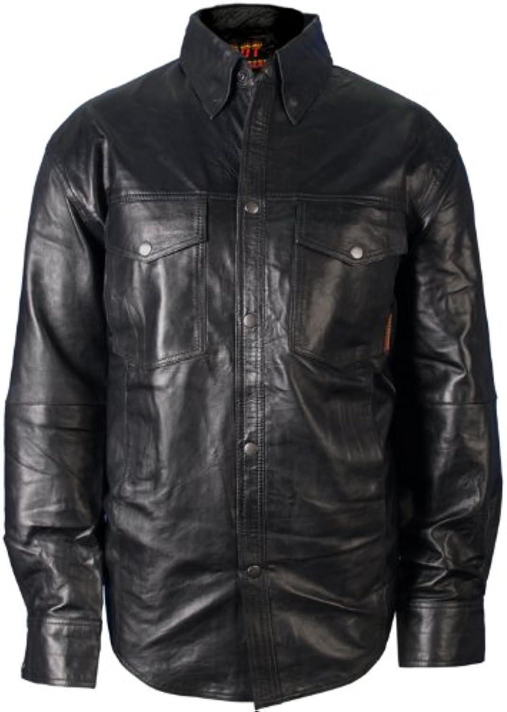 Hot Leathers Men's Leather Shirt (Black, XXXXX-Large)