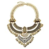 YAZILIND Mujer Collar Oro Tono Cadena Grueso Babero declaración Multi Strand Vintage joyería étnica Gargantilla (# 1)