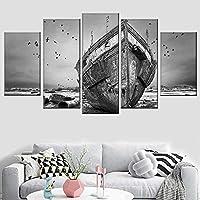 HDプリントキャンバス絵画5ピース風景ブラックホワイトボート座礁した風景ポスター家の壁アート装飾30x40cmx230x60cmx230x80cmフレームなし