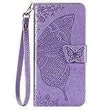 Blllue Funda tipo cartera compatible con Mi 9 SE, diseño de mariposas y flores en relieve para Xiaomi Mi 9 SE, color violeta