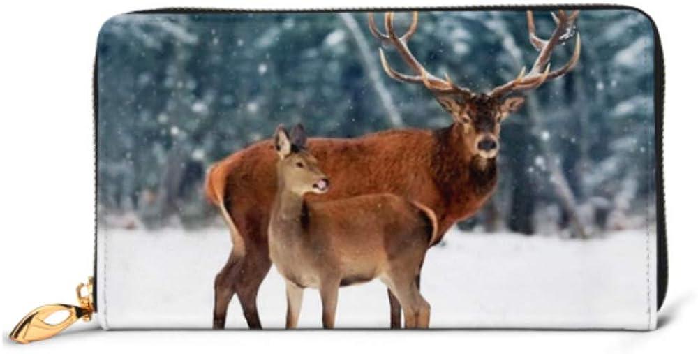 Fashion Handbag Zipper Wallet Noble Deer Male Female Against Beautiful Phone Clutch Purse Evening Clutch Blocking Leather Wallet Multi Card Organiz