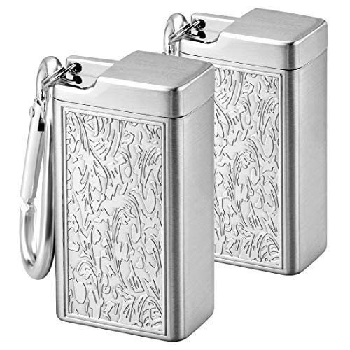 Linkidea 2 Pack Metal Ashtray with Lid, Small Outdoor Portable Cigarettes Cigars Ashtray for Travelling, Camping, Picnic, Indoor Auto, Home, Sand, Car, Patio (Silver)