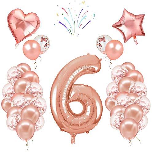 Globos de cumpleaños número 6, 40 pulgadas, oro rosa, 24 globos de confeti de látex, fiesta de cumpleaños boda aniversario decoración conjunto