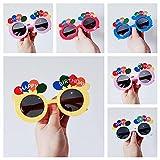 6 Gafas de Fiesta Globos de cumpleaños Hawaianas Party Glasses Novedad Gafas Sol Tropicales Foto Props Decorativas Playa Accesorios Fotomatón Niños Adultos Feliz Anteojos Graciosos