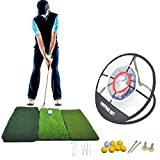 Tri-Turf Golf Mat and Portable Chipping Net Combo   Driving, Hitting, Chipping Mat   Golf Target...