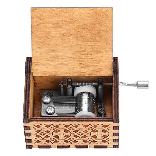 Handkurbel Musikbox, Hölzerne Handkurbel Spieluhr Vintage Hand Eingraviert aus Holz Spieluhr(HP)