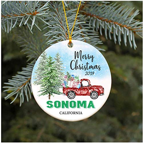 3' Christmas Ornament 2019 Sonoma California CA Christmas Decoration Funny Gift Christmas Together First Christmas as a Family Couples Gifts Boyfriend Girlfriend, Keepsake Gift, Xmas Ornament