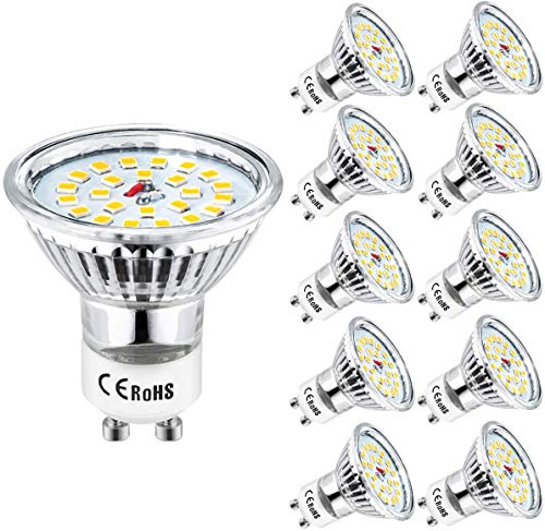 Wowatt 10er GU10 50W LED GU10 Warmweiss GU10 LED 6W Lampe Ersetzt 50W 35W Halogenlampe 230V 600lm Warmweiß 2800K AC 220V-240V 120° Abstrahwinkel LED Birnen LED Leuchtmittel