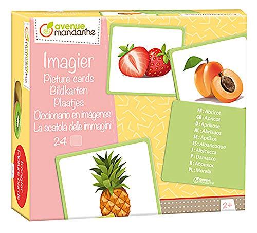 Avenue Mandarine JE509C Packung mit 24 Bildkarten, ideal für Kinder ab 2 Jahren, mehrsprachig, 12 Paaren, 1 Pack, Früchte