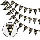 Dekewe 70.Wimpelkette für Geburtstag Banner,70.Schwarz Gold Banner Hängedeko Girlande,70.Geburtstag Wimpel Girlande Digitale Flagge Happy Birthday Girlande für Party Geburtstag Deko