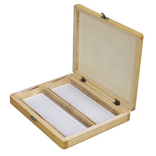 AmScope Microscope Slide Wooden Box Holding 100 Piece Slides