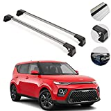 Roof Rack Cross Bars Luggage Carrier 2 Pcs. Silver Set Fits Kia Soul 2020-2021 | Aluminum Silver Cargo Carrier Rooftop Luggage Crossbars