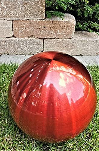 Dekorationskugel 30 cm Edelstahl rot matt gebürstet Dekokugel Edelstahlkugel Gartenkugel