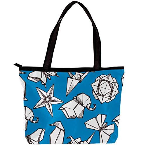 Vockgeng Bolsos hobo para mujer Origami Estrella Mariposa Bolsos de tela de sarga de moda Bolso Hobo de gran capacidad 30x10.5x39cm