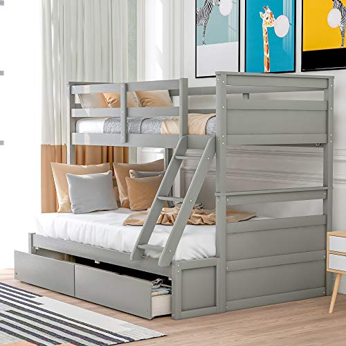 merax folding beds Merax Twin Over Full Bunk Bed with Drawers, Solid Pine Wood Bunk Bed Frame with Ladders (Grey, Twin Over Full Bunk with Drawers)