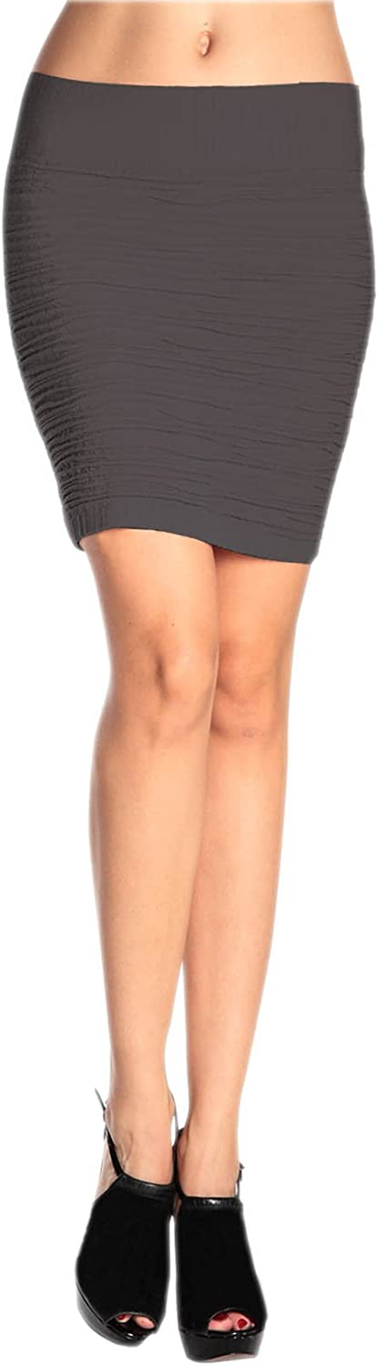 The Del Rey with Textured Design Solid Color Seamless Skirt By Modadorn