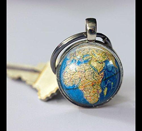Schlüsselanhänger, Globus-Schlüsselanhänger, Vintage-Kartenbild, besonderes Geschenk, spezieller Schlüsselanhänger, Glas, rund, silberfarben