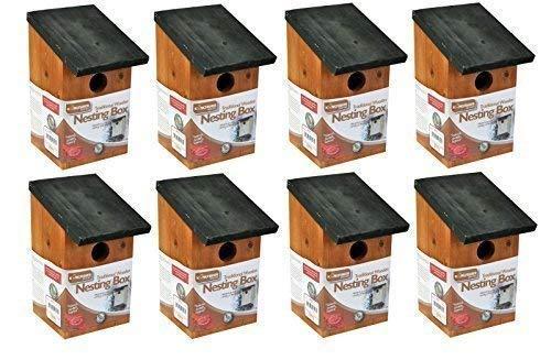 Garden Mile 8 X Traditionell Holz Garten Vogelhaus Nestbau Boxen Mit Grünem Schwenkbar Dach Für Einfache Reinigung Predator Nachweis Zu Passend Klein Vögel Spatzen, Tits Rotkehlchen Nester