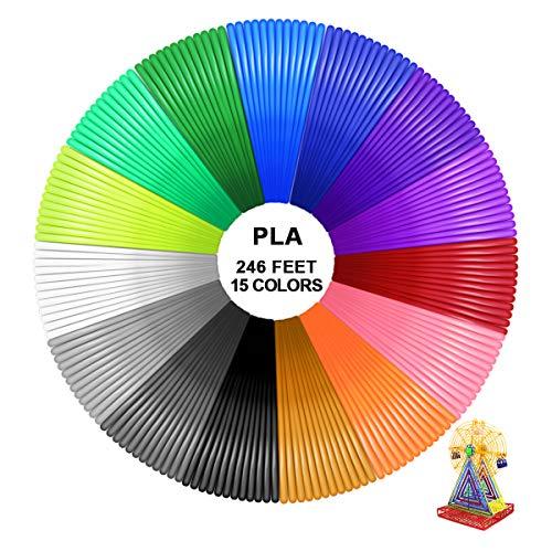 PHILORN PLA Precisione Dimensionale Filamento Penna 3D +/- 0,02 mm, Ricariche Stampante 3D Compatibili con Stampanti 1,75 mm - Ogni Colore 16,4 Piedi (Totale 15 Colori / 246 Piedi)
