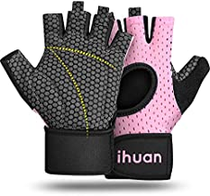 ihuan Updated 2019 Version Professional Ventilated Weight Lifting Gym Workout Gloves with Wrist Wrap Support Womens, Great for Weightlifting, Training, Exercise, Fitness, Hanging, Pull ups