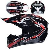 LCRAKON Casco Moto Niño, MJH-01 Cascos de Motocross de Moto,Enduro,Descenso,Full Face para Hombre, Casco de Carreras Dot Aprobado,Casco Motocross Infantil - Negro Brillante
