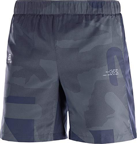 SALOMON Agile 7'' Shorts para Running, Poliéster, Hombre, Azul/Gris (Night Sky/Ebony/Stone Blue), XS