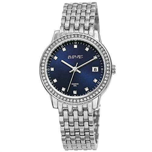 August Steiner China Crystal Studded Women's Watch – Stainless Steel Silver Bracelet Strap –...