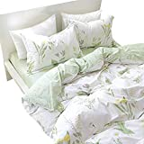 FADFAY Duvet Cover Set King 4-Pcs Shabby Daisy and Lavender Flowers 100% Cotton Hypoallergenic Hidden Zipper Closure with Green Deep Pocket Fitted Sheet 4 Pieces King Size
