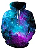 uideazone Women Mens Galaxy Hoodies Space Collection All Over Galaxy Print Sweatshirt Casual Pullover Hooded Jacket