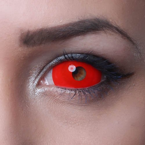 MATLENS – Eye love Sclera Kontaktlinsen Crazy Fun Motiv Halloween red rot 2 Linsen 1 Kontaktlinsenbehälter 1 Pflegemittel 50ml