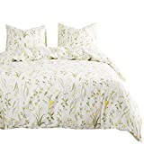 Wake In Cloud - Botanical Comforter Set, 100% Cotton Fabric with Soft Microfiber Fill Bedding, Yellow Flowers and Green Leaves Floral Garden Pattern Printed on Ivory (3pcs, Queen Size)