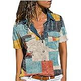 2021 Nuevo Camiseta Blusa de Mujer, Verano Camisa Moda Impresión Manga Corta Elegante Blusa Cómodo Camisa Cuello en V...