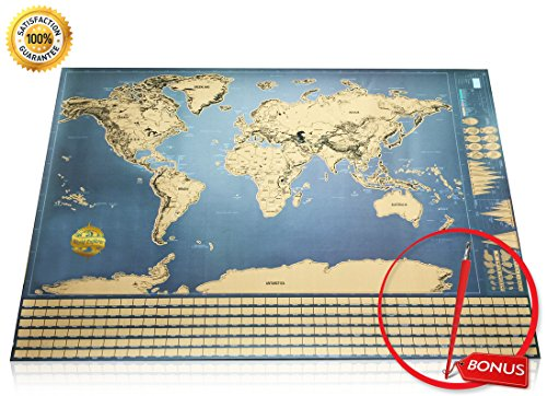 World Explorer - Premium Scratch Off World Map with Flags & Glossy Finish + Free Scratch Pen/Top Quality World Scratch Off Map/Perfect Scratch-Off World Map Poster