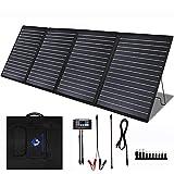 MEGSUN - Kit de cargador de panel solar plegable portátil de 200 W, 18 V, para estación de energía de 200/300/500/1000 W, con controlador de 20 A, 12 V, 24 V, para generador de central, batería de 12 V, RV al aire libre (200 W, negro)