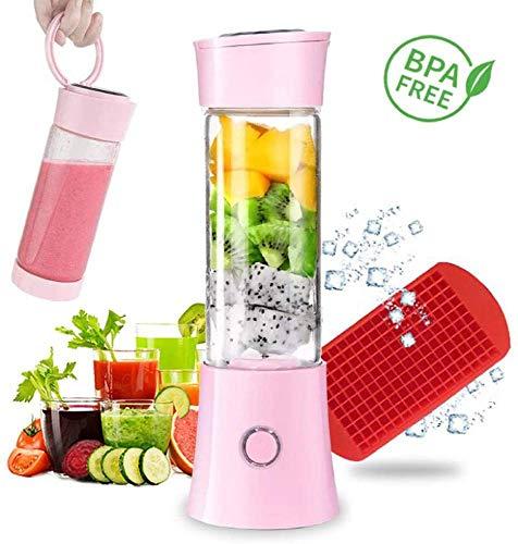 Licuadora portátil ZOVCAL Smoothie Maker Licuadora personal recargable con USB, 6 cuchillas de acero inoxidable para batidos, zumo, batidos de leche, máscara rosa