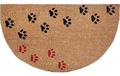 matches21 voet mat deur mat Kokos Kokos Kokos half ronde look TATZEN poot katten honden 45x75x1,5 cm antislip achterkant kokos mat coco mat