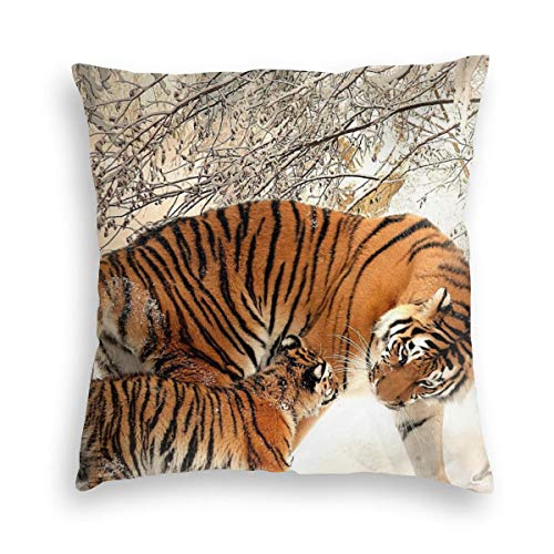 Feamo Snow Tiger Velvet Soft Decorative Square Throw Pillow Covers Cushion Case Pillowcases for Sofa Chair Bedroom Car 18X18inch