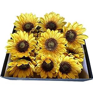 DALAMODA Artificial Sunflower Heads Silk Flower Floral Arrangement for DIY Wedding Table Centerpieces Home Kitchen Wreath Cupcakes Topper Floral Arrangement (Pack of 24pcs L-4.5inch)