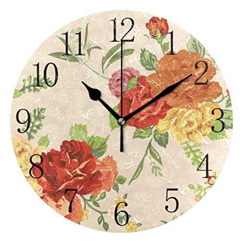 TropicalLife FELIZM - Reloj de pared silencioso con diseño de rosas coloridas, funciona con pilas, reloj redondo de cuarzo, fácil de leer, para dormitorio, cocina, sala de estar, 24 cm