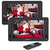 Pumpkin 10.1' Reproductor DVD Portátil con 2 Pantalla para Reposacabezas de Coche, Soporta SD/ USB/ CD/ DVD Región Libre, 4 Horas Batería Recargable con Mando a Distancia