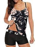 Sixyotie Damen Mehrfarbig Tankini mit Oberteile und Badeshorts Badeanzug Beachwear Zweiteiler Bademode mit Pads (Smalldaisy, M)