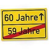 DankeDir! 60 Jahre (59 Jahre vorbei) - Kunststoff Schild Geschenk 60. Geburtstag Geschenkidee Geburtstagsgeschenk Sechzigsten Geburtstagsdeko Partydeko Party Zubehör Geburtstagskarte