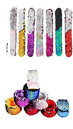 Pulseras Slap Bracelets Reversible Sequins, Pulseras de Sirena de Lentejuelas Reversible, Wristbands Mágicas Regalos de Fiesta Cumpleaños para Niños, Pack 12 Color al azar