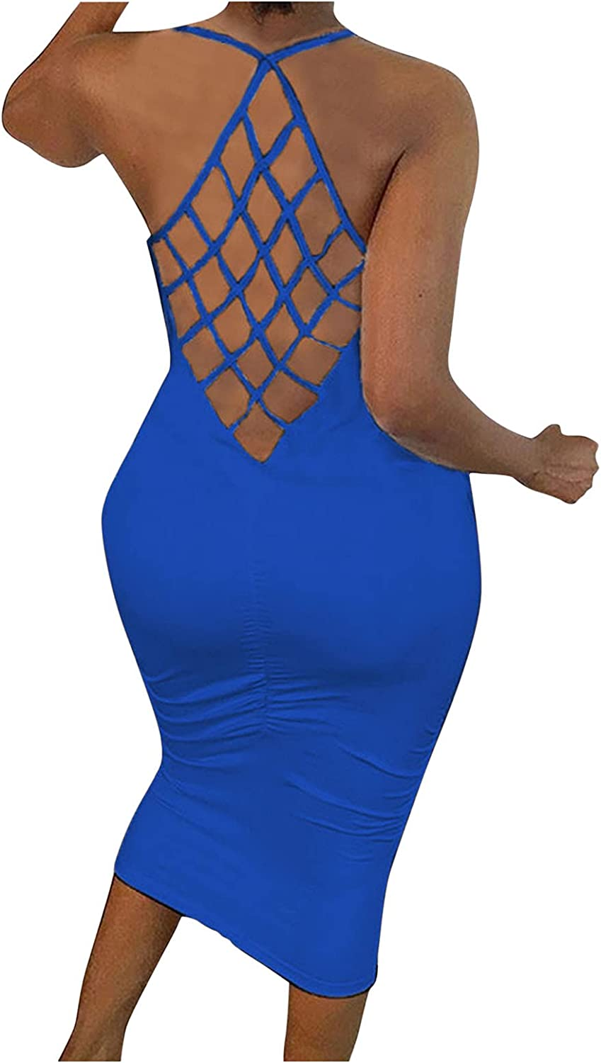 Womens Solid Color O-Neck Splicing Fishnet Backless Summer Sleeveless Skinny Bodycon Maxi Dress