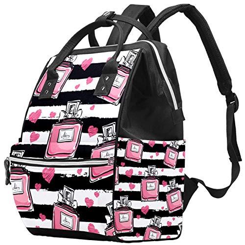 LORVIES Pink Perfume Stripe Pattern Nappy - Mochila para pañales