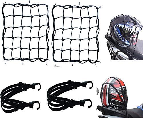 4 pz Rete Elastica Moto Accessori per,2*Rete Ragno Elastica +2*Corda Elastica,Moto Bici Portapacchi Coprire Appendere Casco Bagagliai con Ganci